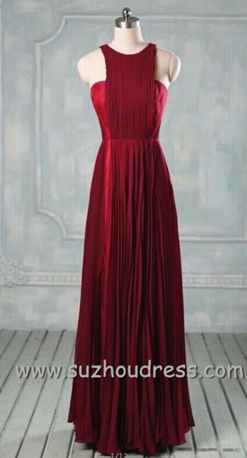A-line Ruffle Burgundy Long Simple Prom Dress Formal Chiffon Designer Inexpensive Dresses for Juniors