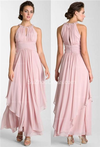 Pink  Prom Dresses Jewel Sleeveless A Line Floor Length Chiffon Zipper A Line Sequins Evening Gowns