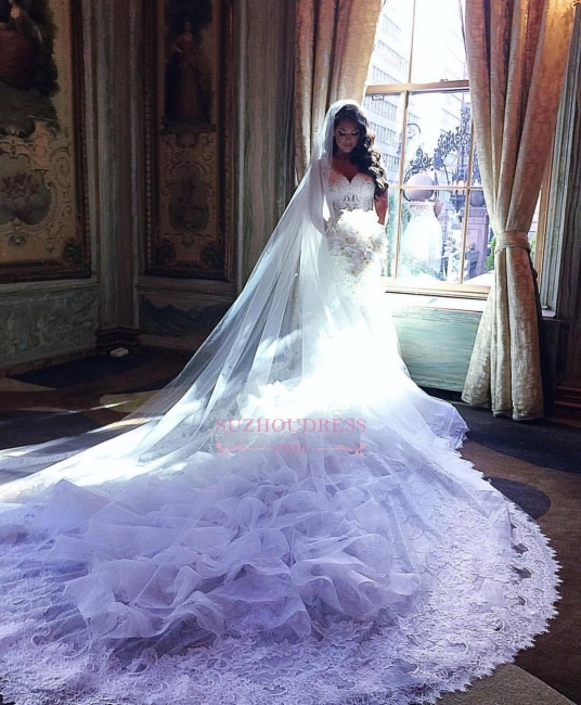 V-Neck Lace Appliques Ruffles Mermaid Bridal Gowns Gorgeous Organza Wedding Dresses