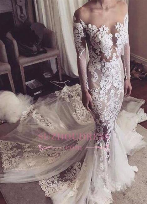 Glamorous Tulle Sexy Appliques Mermaid Long-Sleeves Wedding Dress