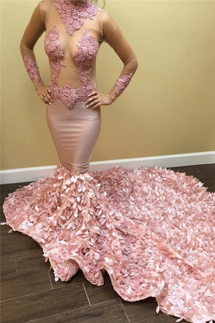 See Through Tulle Sexy Pink Prom Dresses |  Lace Long Train Evening Gown  FB0355