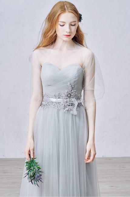Elegant Sweetheart Grey Tulle Prom Dress New Arrival Floor Length Zipper Formal Occasion Dresses
