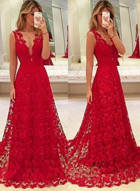 A-Line Red V-Neck Lace  Prom Dresses Latest Sweep Train Evening Gowns BA3843