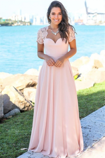 Sexy Open Back Pink Bridesmaid Dresses Cheap | Chiffon Short Lace Sleeves Formal Evening Dresses