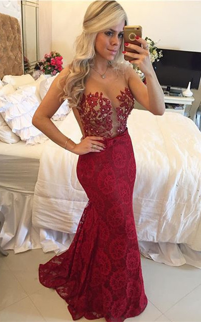 Mermaid Lace Sexy  Prom Dress New Arrival Beading Formal Occasion Dresses