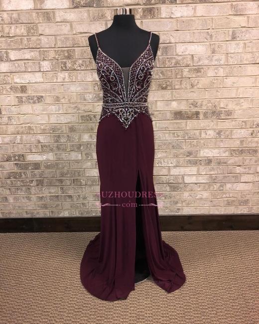 Brilliant Front-Slit Spaghetti-Straps Beading A-Line Prom dresses