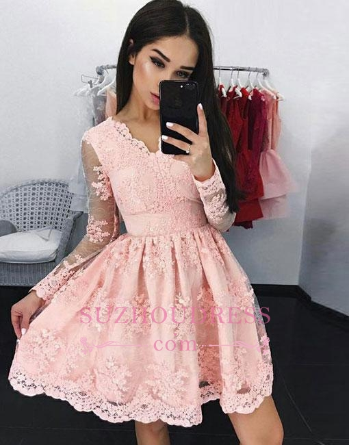 A-line V-neck Long-sleeves Pink Short Lace Cocktail Dress