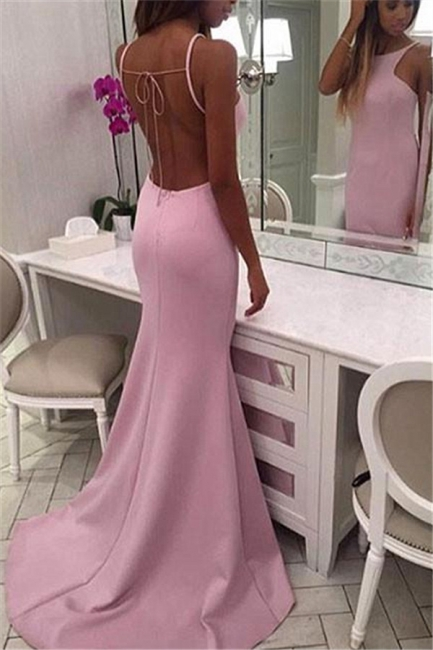Pink Open Back Sexy Evening Dresses with Straps  Long Formal Dresses