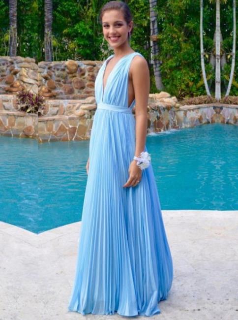 Sexy Deep V-Neck Sky Blue Summer Pool Long Prom Dress  High Quality Ruffles Chiffon Evening Dress