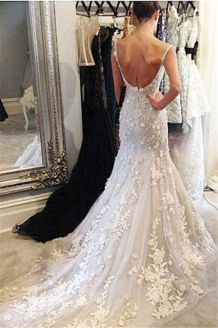 Straps Sweetheart Sexy Formal Evening Dresses Lace Flowers Popular Wedding Dresses with Long Train