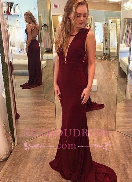 Sleeveless Mermaid Crisscross Evening Gown  Burgundy Deep-V-Neck Prom Dresses