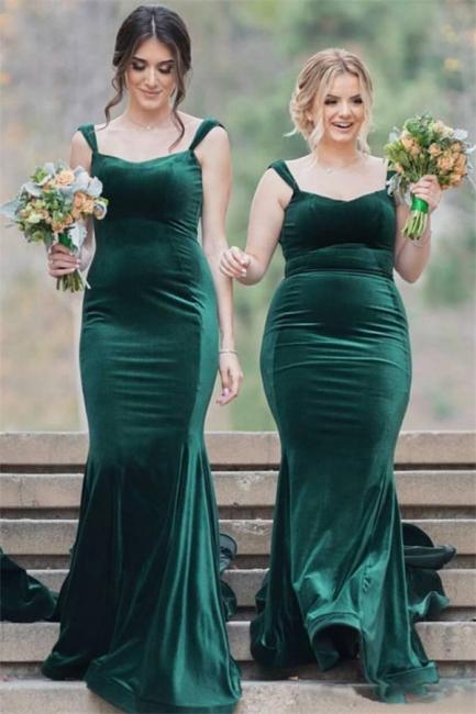 Straps Velvet Green Long Wedding Party Dresses  Elegant Bridesmaid Dress