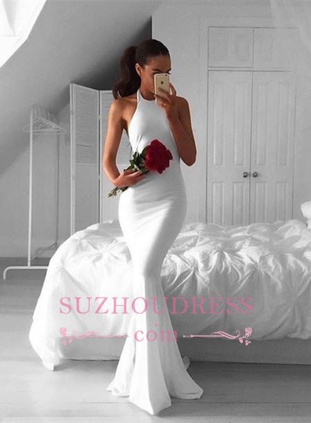 Sweep-Train Mermaid White Sexy Sleeveless Halter Prom Dress BA4918