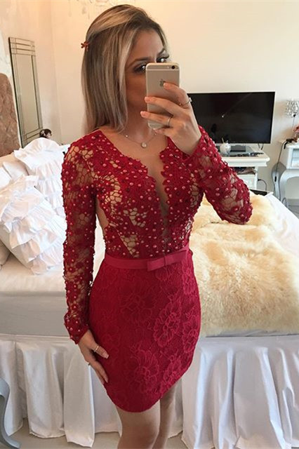 Red Long Sleeve Lace Short Homecoming Dress New Arrival Beadings Bowknot Mini Cocktail Dress BA7304