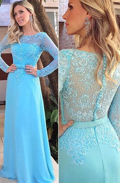 Blue Scoop Long Sleeve Evening Gowns Elegant Chiffon Lace Prom Dresses