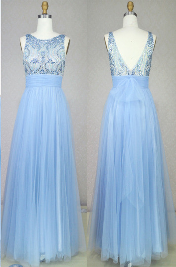 Light Blue Soft Mesh Cute Long Prom Dresses with Crystals Beadings Bowknot Sash Open Back  Evening Gowns