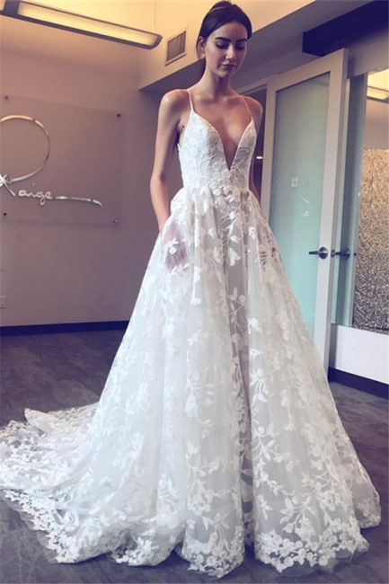 Elegant V-Neck Lace A-line Wedding Dresses   Spaghetti Straps Sleeveless Bridal Gowns