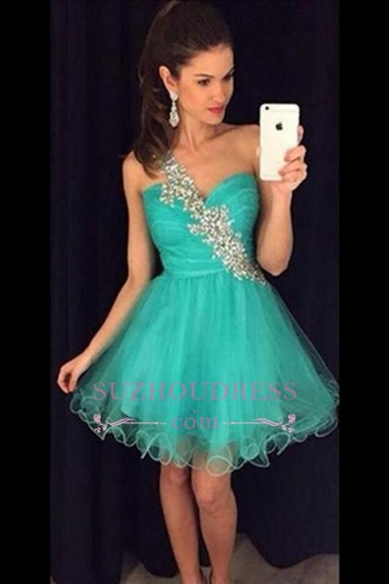 Appliques One-Shoulder Short A-Line Tulle Homecoming Dress   GA074 BA4710