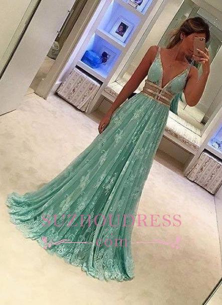 Mint-Green A-line Elegant Sheer Lace Deep-V-Neck Prom Dresses