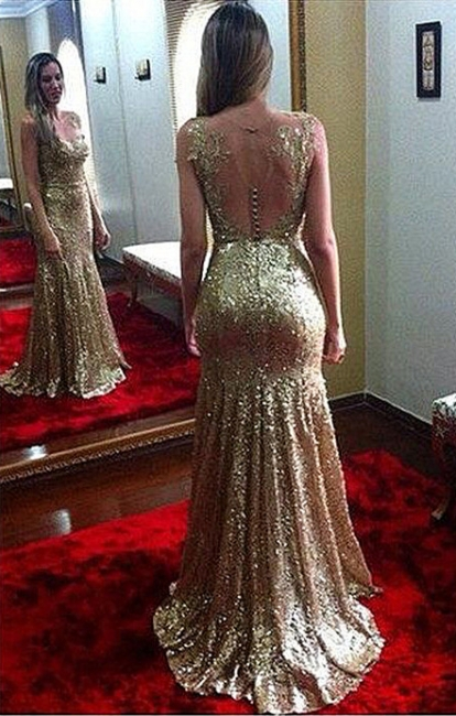 Open Back Sexy Gold Sequined  Evening Gowns Sleeveless Applique Mermaid Party Dresses CJ0169