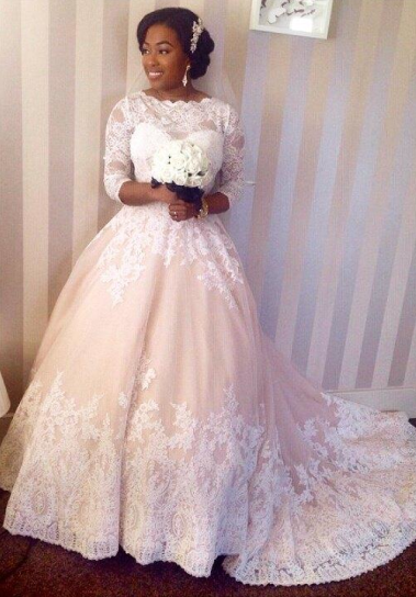 Beautiful Lace 3/4 Sleeve Long Ball Gown Wedding Dress New Arrival Custom Made Formal Bridal Gowns