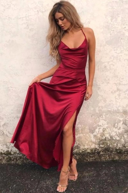 Sexy Simple Red Backless Prom Dresses  Side Slit Halter Party Gowns SK0038