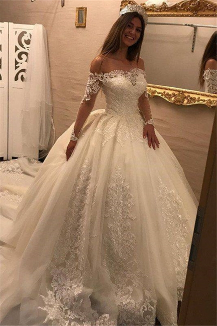 Elegant Off-the-Shoulder Long Sleeves Wedding Dresses | Tulle Appliques Bridal Gowns  with Beadings