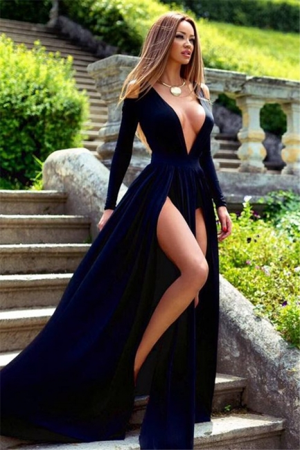 Plunging Neck Long Sleeve Summer Dresses Sexy Split Long Evening Gowns BA3599