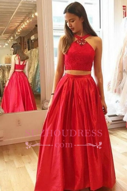 A-Line Crystal Halter Two-Pieces Glamorous Red Prom Dresses