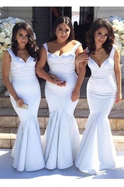 Elegant  White Simple Floor-Length Mermaid Straps Bridesmaid Dress BA4122