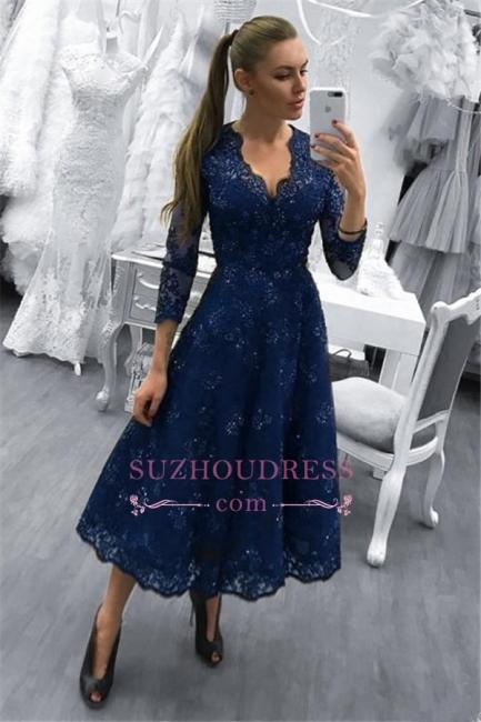 Dark Navy 3/4 Length Sleeves V-Neck Evening Dress |  A-line Lace Beadings Prom Dress