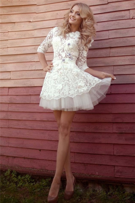 Half Sleeve Lace Bridal Shower Dress   Tulle Miniskirt Party Dress with Flowers BA3555