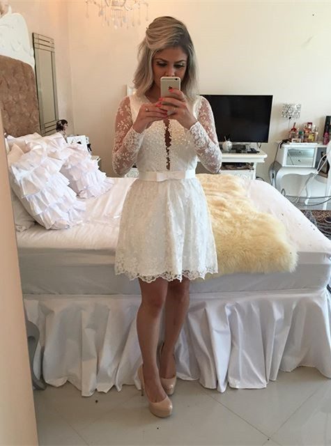 White A-line Lace Mini Cocktail Dress Long Sleeve Beadings Open Back Short Homecoming Dress