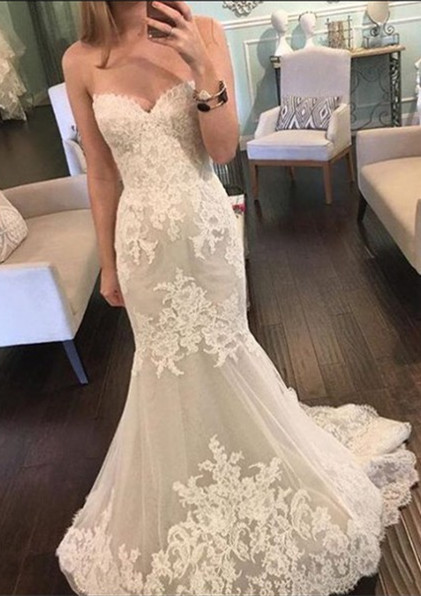 Lace Mermaid Sweetheart  Bridal Gowns New Tulle Long Wedding Dresses BA3980