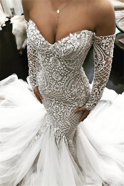 Alluring Off The Shoulder Lace Wedding Dresses Fit and Flare Long-Sleeves Bridal Gowns Online