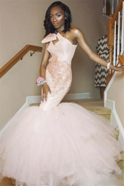 One Shoulder Mermaid Tulle  Prom Dress  | Pink Lace Sleeveless Sexy Long Prom Gown