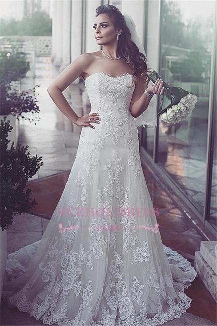 Tulle Elegent Sweetheart Sweep-Train Sleeveless Lace Wedding Dresses