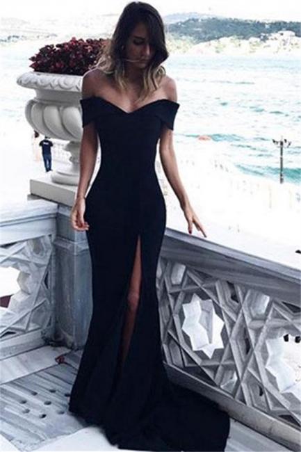 Off The Shoulder Black Evening Dresses  Elegant  Prom Dress with Slit BA6545