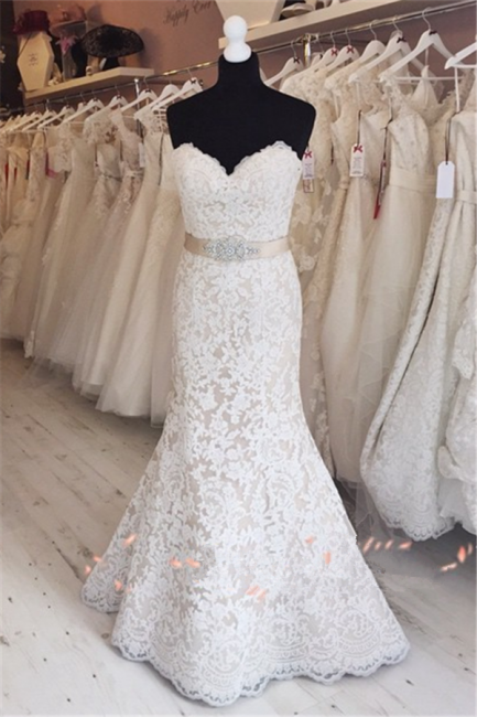 Elegant Full Lace Wedding Gowns Mermaid Sweetheart  Bride Dress with Sash
