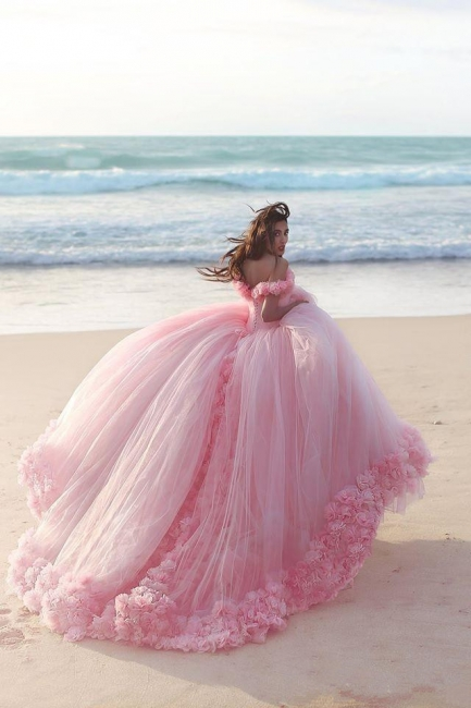 Sweet 16 Quinceanera Dresses Off The Shoulder Corset Canfy Pink Wedding Dress with Flowers BA3070