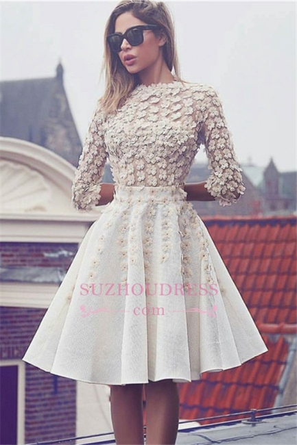 Glamorous Lace Short Homecoming Dress  3D-Flowers A-Line 3/4 Sleeves Hoco Dresses BA6905