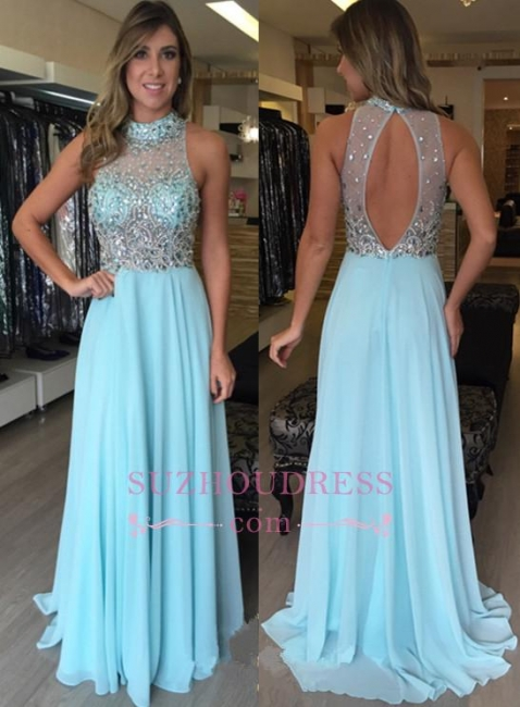 Chiffon Crystal High-Neck Halter Long Natural Prom Dresses