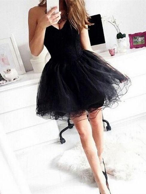 Cute Swetheart  Little Black Homecoming Dresses A-Line Organza Short Summer Dress