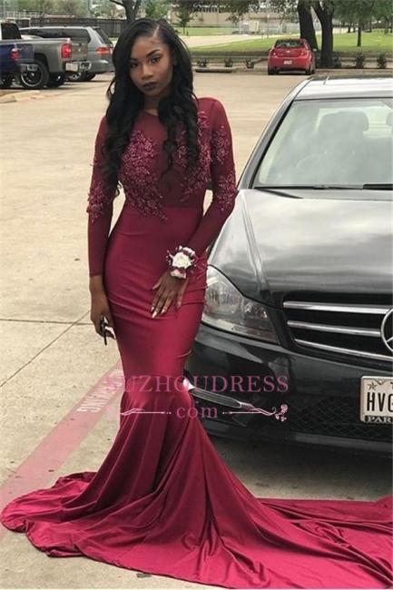 Tulle Appliques Sheer  Burgundy Mermaid Long Sleeve Long Train Prom Dress BA6112