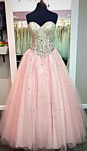 Sweetheart Pink Ball Gown Prom Dresses with Crystals Beadings  Long Cute Evening Dresses in High Quality