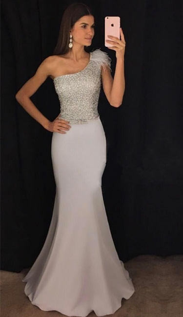 New Arrival One Shoulder Mermaid Evening Dresses  Sequins Prom Dresses with Fur