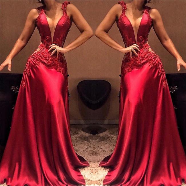 Deep V-Neck Red Sleeveless Evening Dresses | Sexy A-Line Appliques Prom Dresses