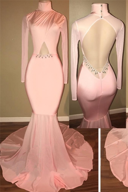 Open Back  Pink Prom Dress Sexy   Mermaid High Neck Evening Gowns with Sleeve