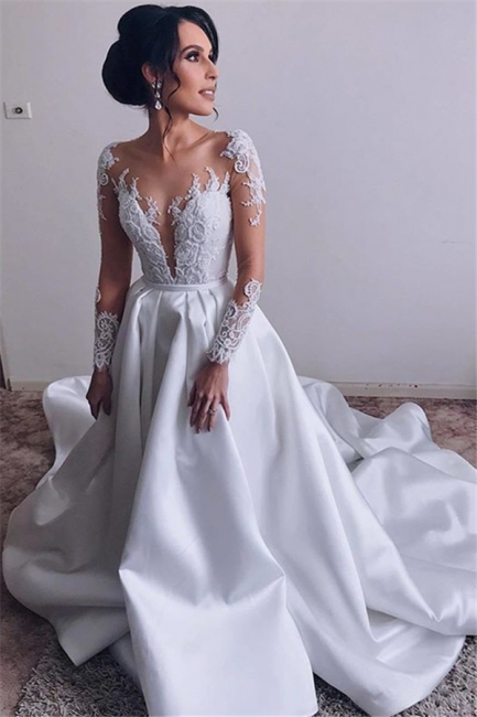 Glamorous Lace Appliques Wedding Dresses Satin Long Sleeve Bridal Gowns Online