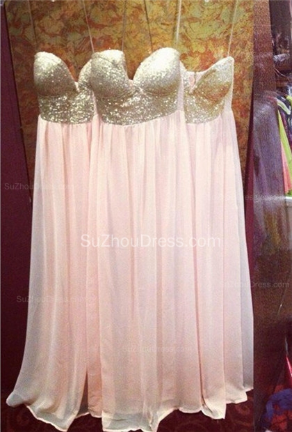 Pearl Pink Sweetheart Sequined Prom Gowns  A-Line Floor Length Evening Dresses